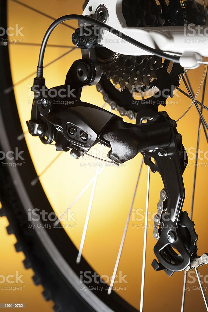 Rear bike cassette on the wheel with chain royalty-free stock photo