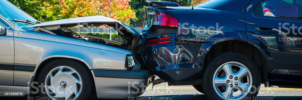Rear end accident between two cars stock photo