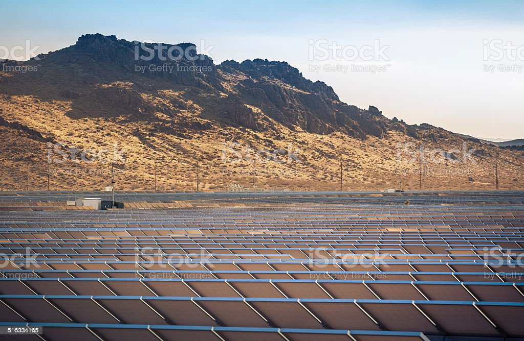Rear Facing View of Photovoltaic Solar Array In Rosamond, California royalty-free stock photo