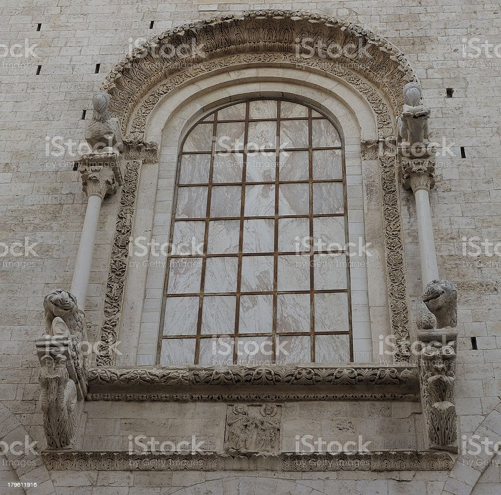 rear large window of the Cathedral Bitonto royalty-free stock photo