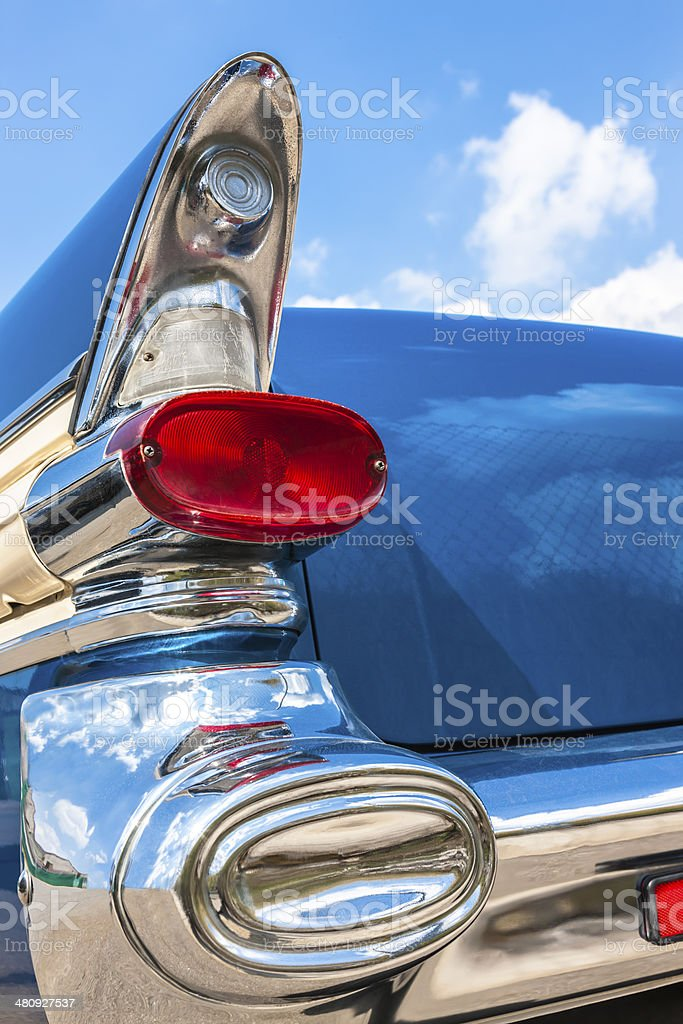 Rear Light And Tail Fin of US Classic Car royalty-free stock photo