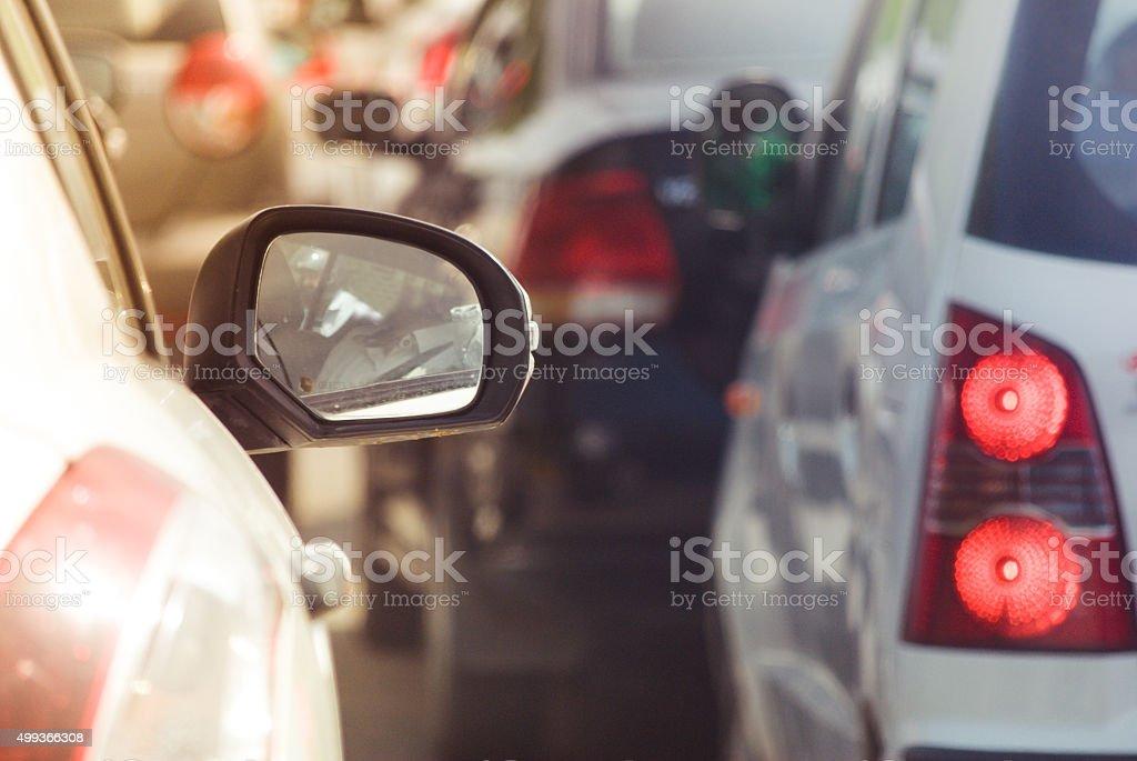 Rear mirror reflection stock photo