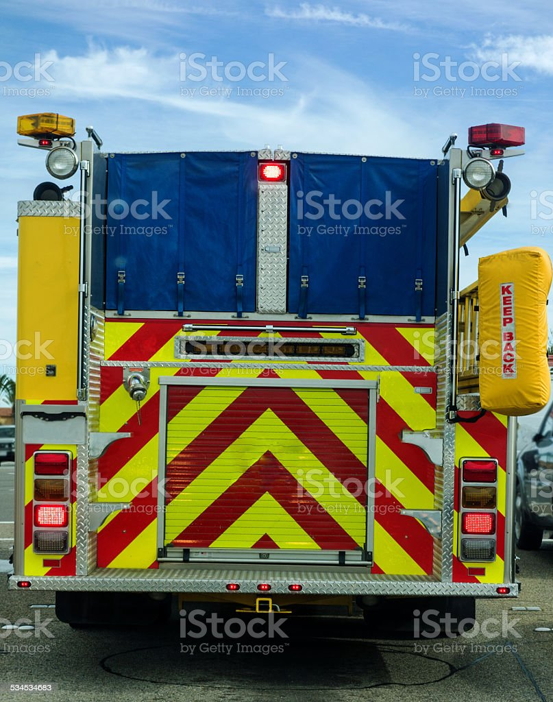 Rear Of A Fire Truck stock photo
