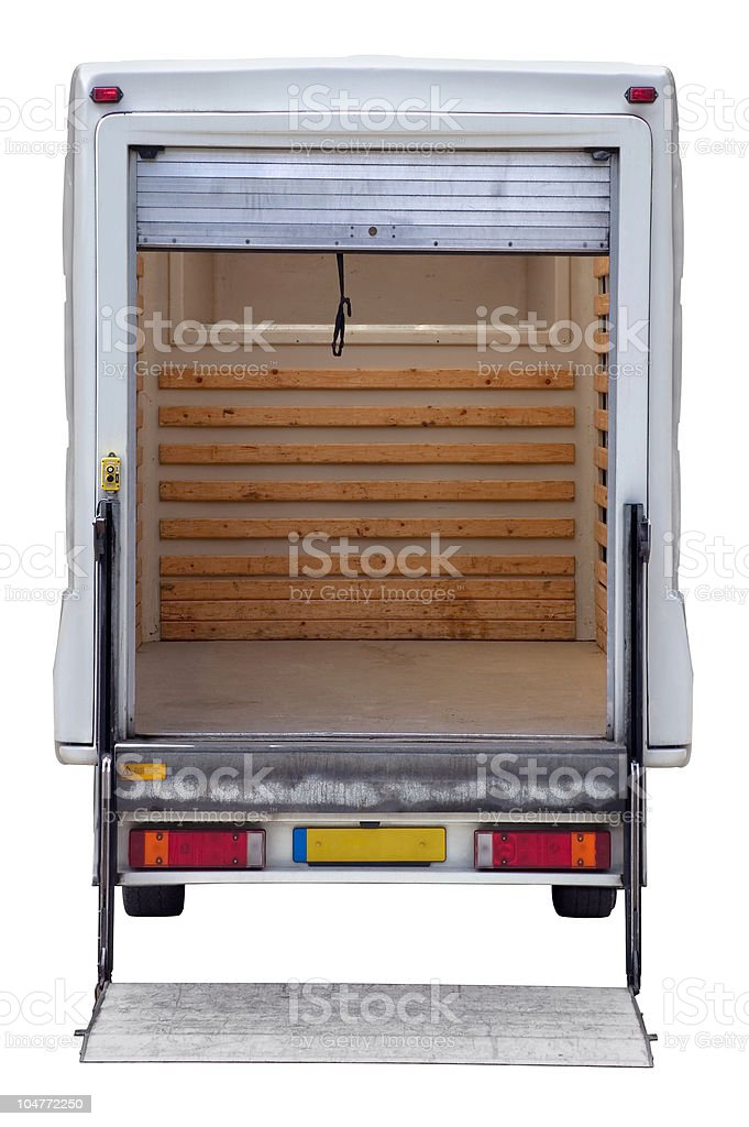 Rear of empty box van stock photo
