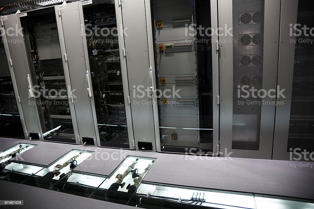Rear of servers with cooling sytem stock photo