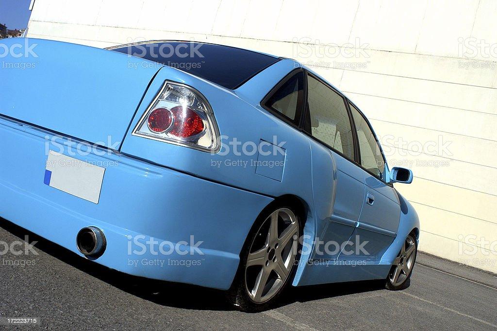 Rear of the bule sports car stock photo