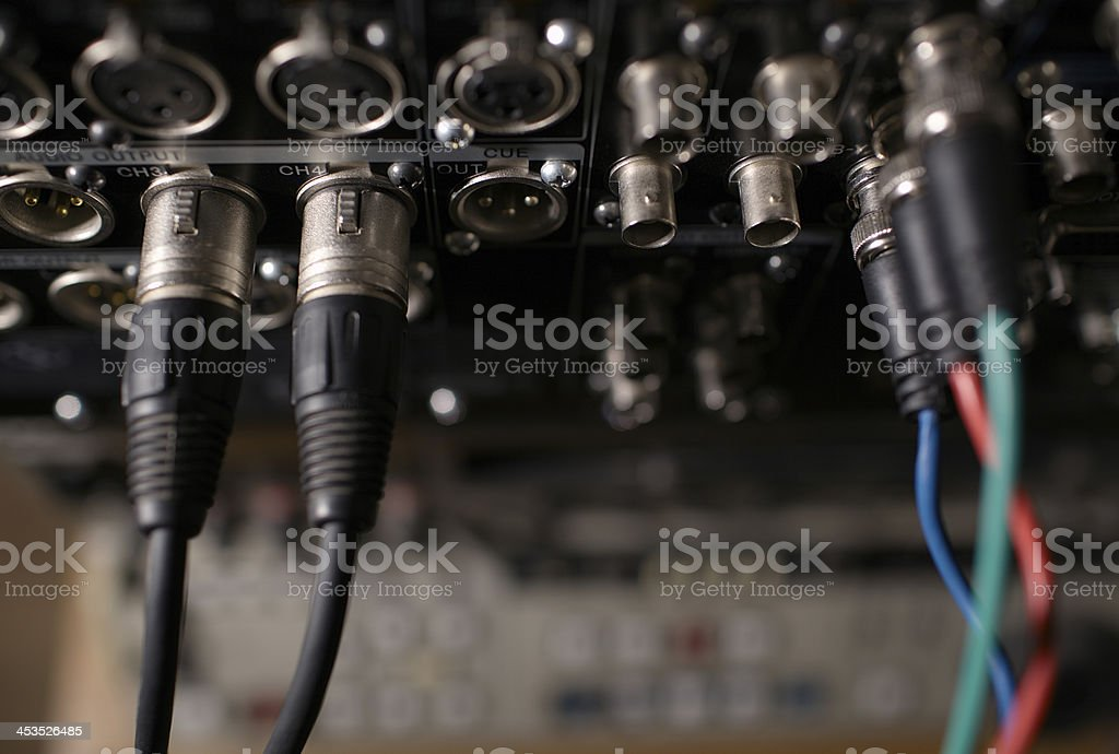 Rear panel of the professional recorder with cables. royalty-free stock photo
