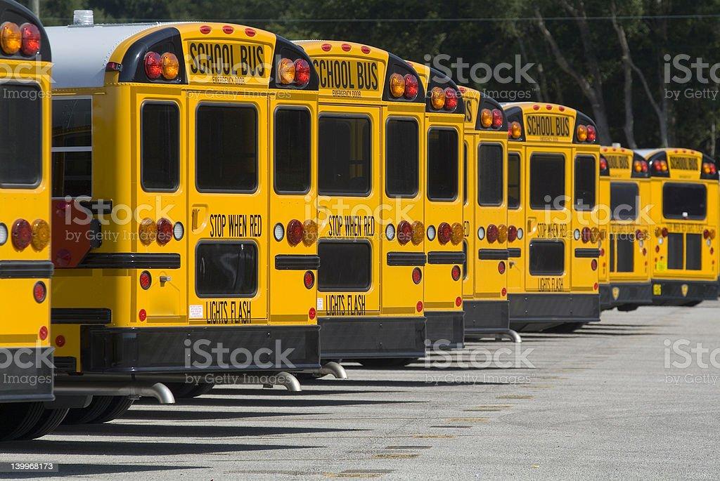 Rear School Bus Line royalty-free stock photo