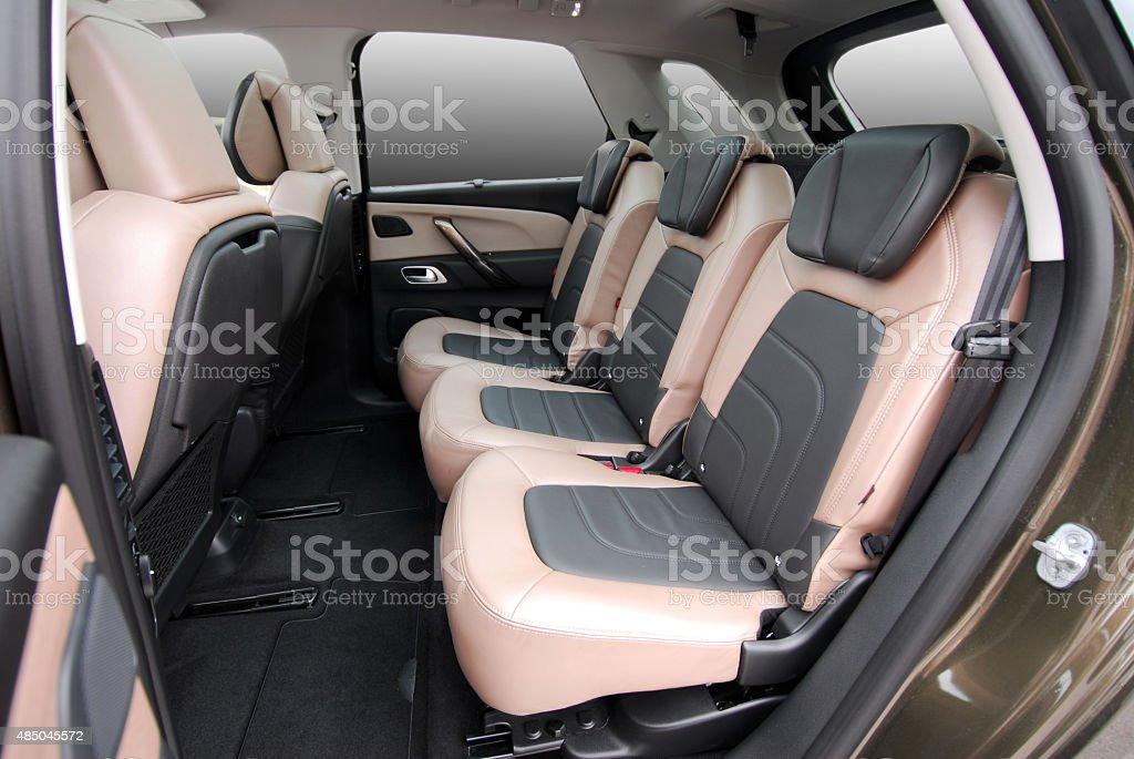 rear seats in a luxury car stock photo