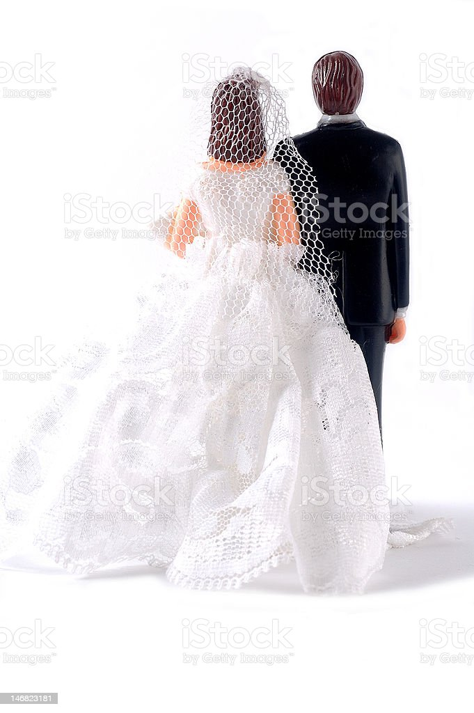 Rear side of wedding dolls stock photo