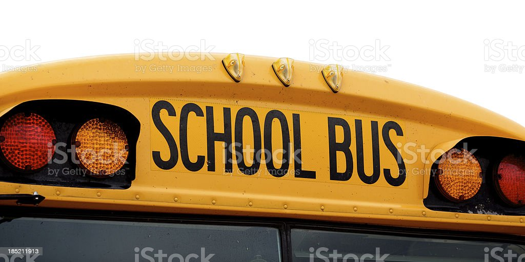 Rear top of school bus isolated on white stock photo