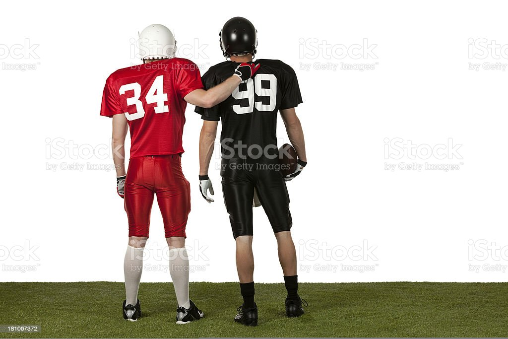 Rear view american football players royalty-free stock photo