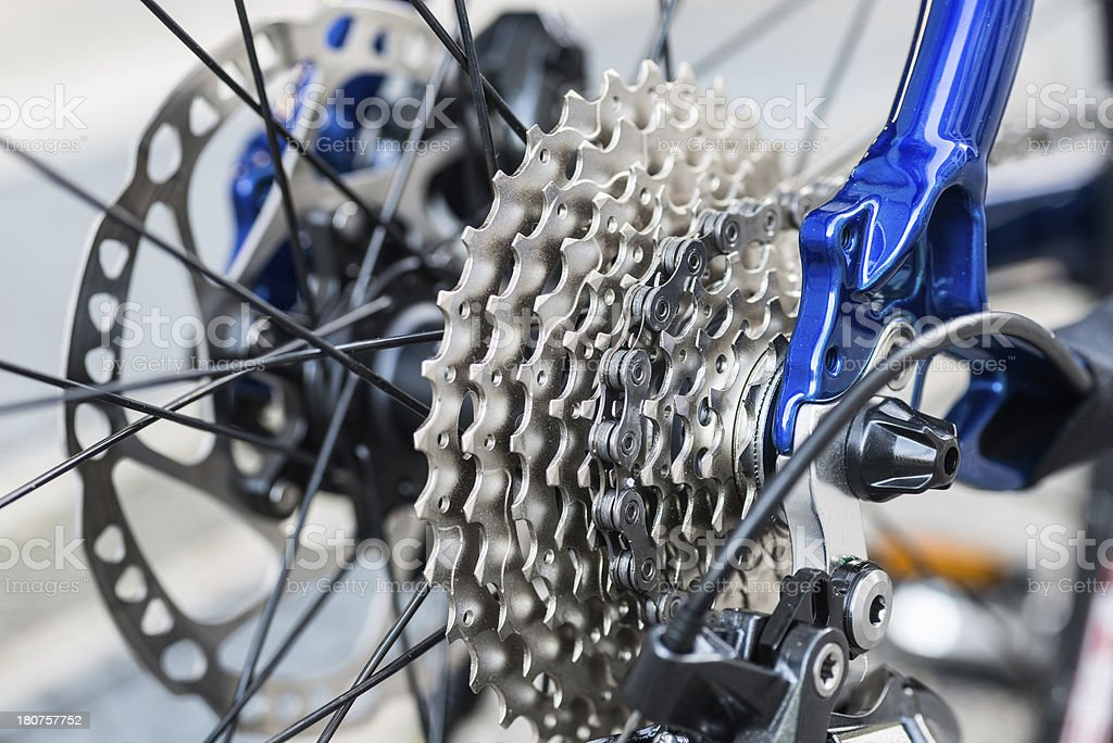 rear view and gears from a brand new bicycle royalty-free stock photo