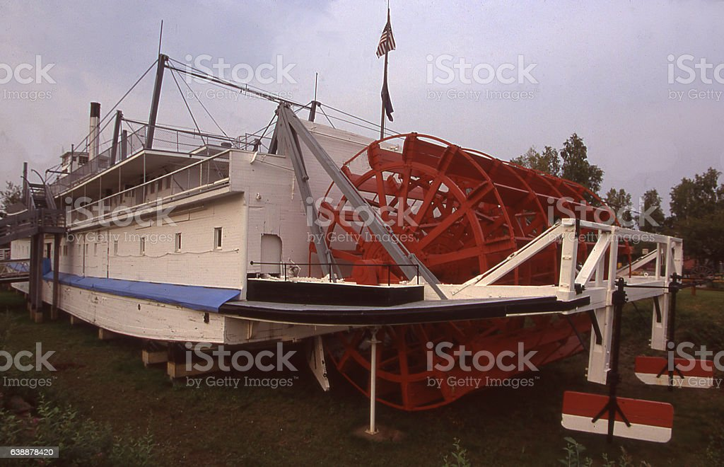 Rear view antique paddle wheel steamship riverboat near Fairbanks Alaska stock photo