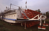 Rear view antique paddle wheel steamship riverboat near Fairbanks Alaska