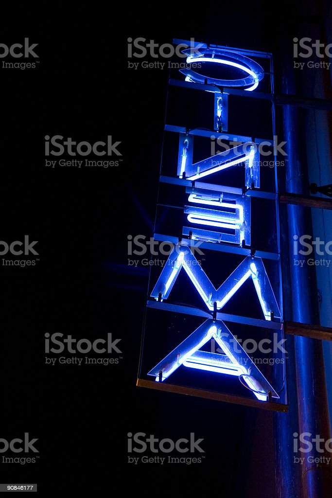 Rear view cinema neon sign 03 royalty-free stock photo