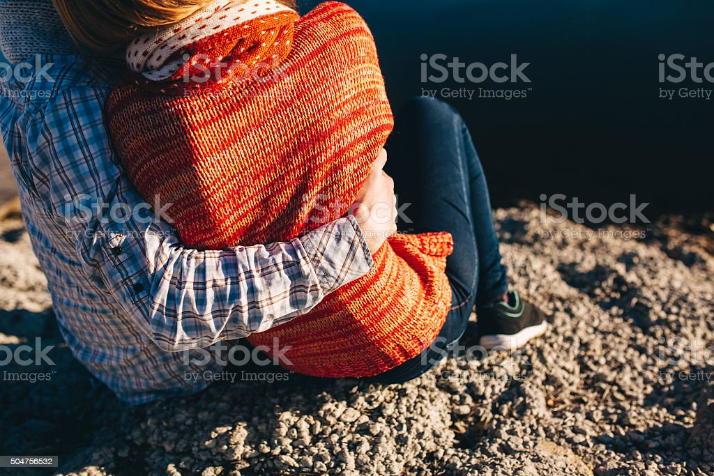 Rear view close up of young teenage pair stock photo