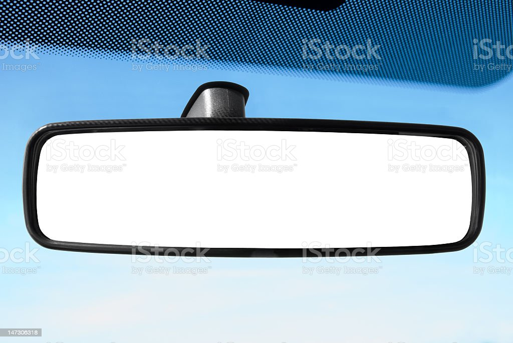 A rear view mirror in a car in cartoon stock photo
