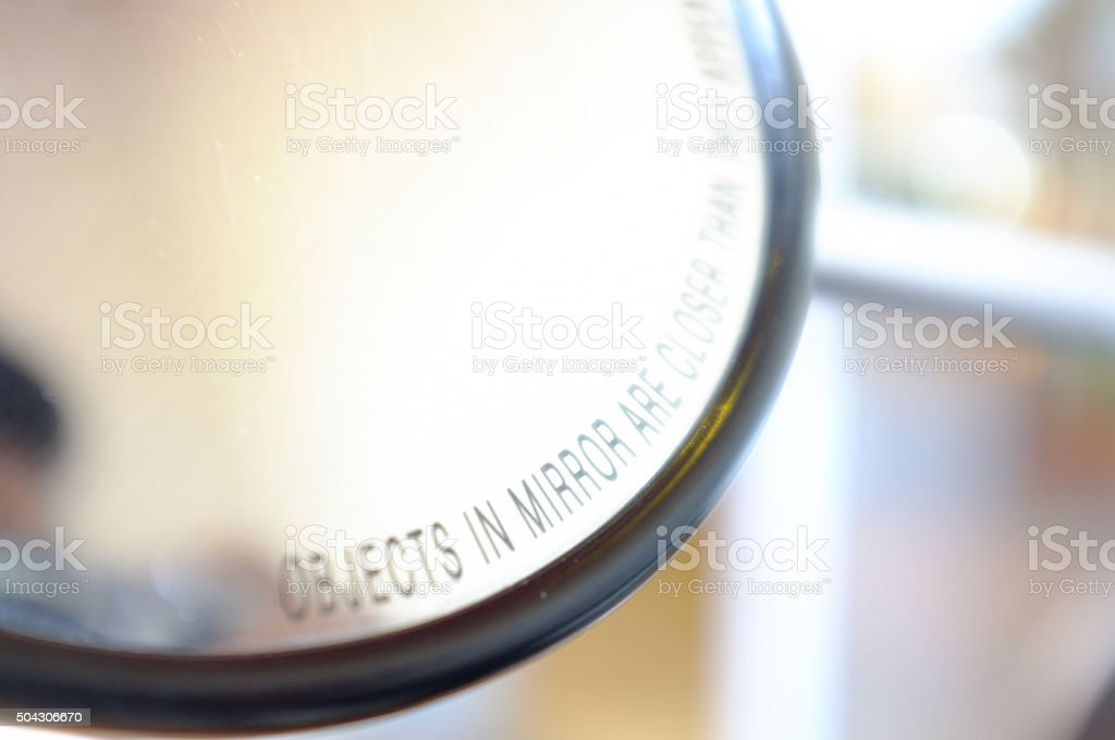 Rear View Mirror of a motorbike stock photo