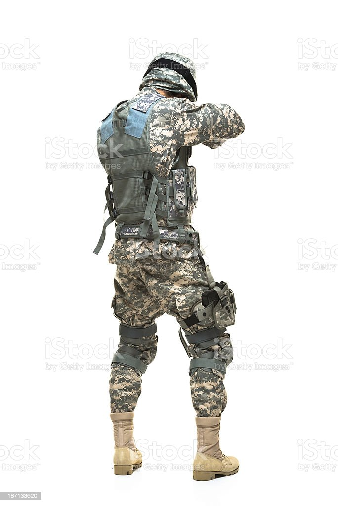 Rear view of a army man royalty-free stock photo