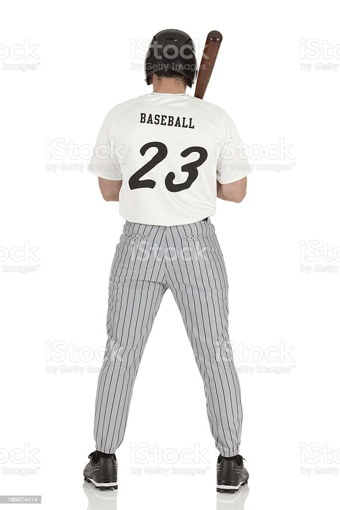 Rear view of a baseball player royalty-free stock photo
