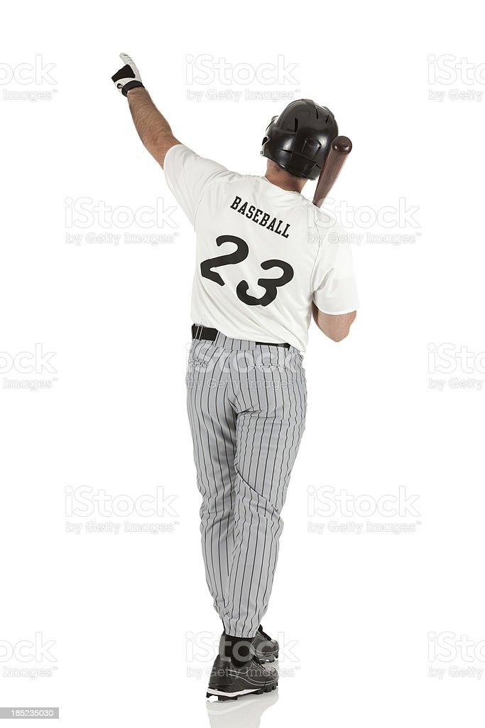 Rear view of a baseball player stock photo