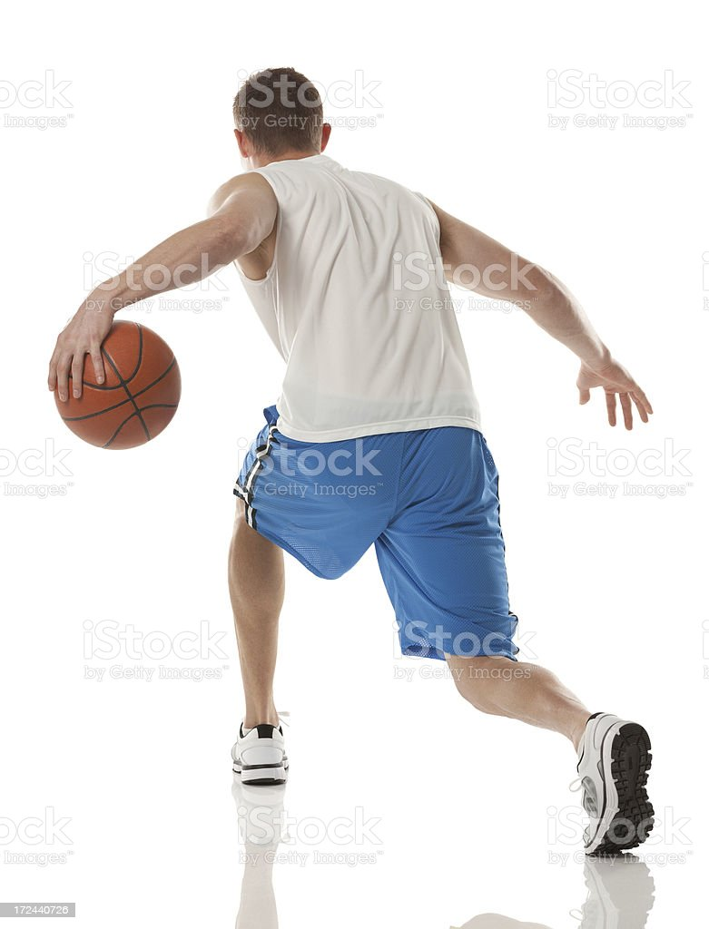 Rear view of a basketball player royalty-free stock photo