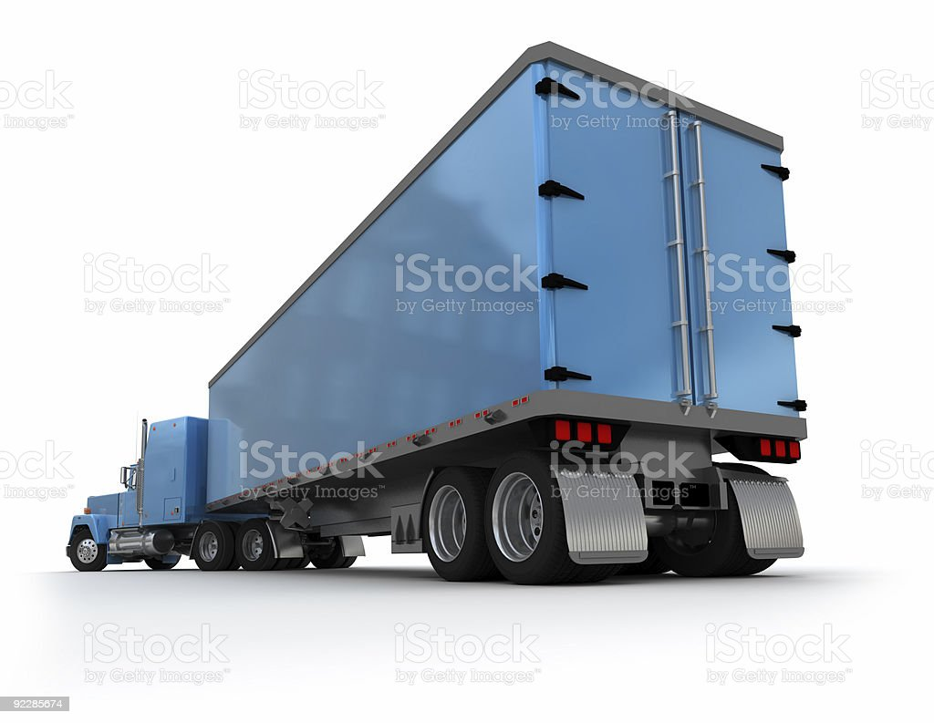 Rear view of a big blue trailer truck royalty-free stock photo