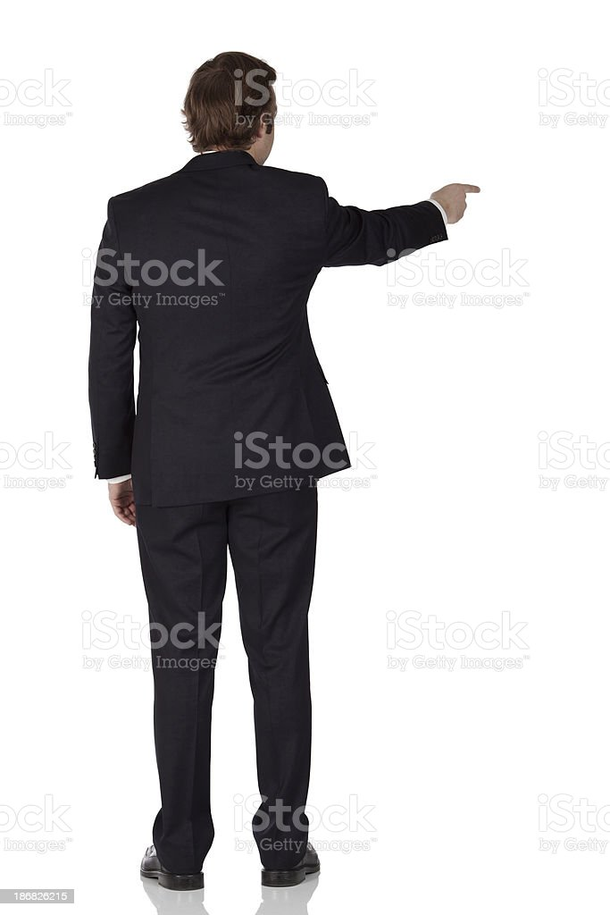 Rear view of a businessman pointing with finger royalty-free stock photo