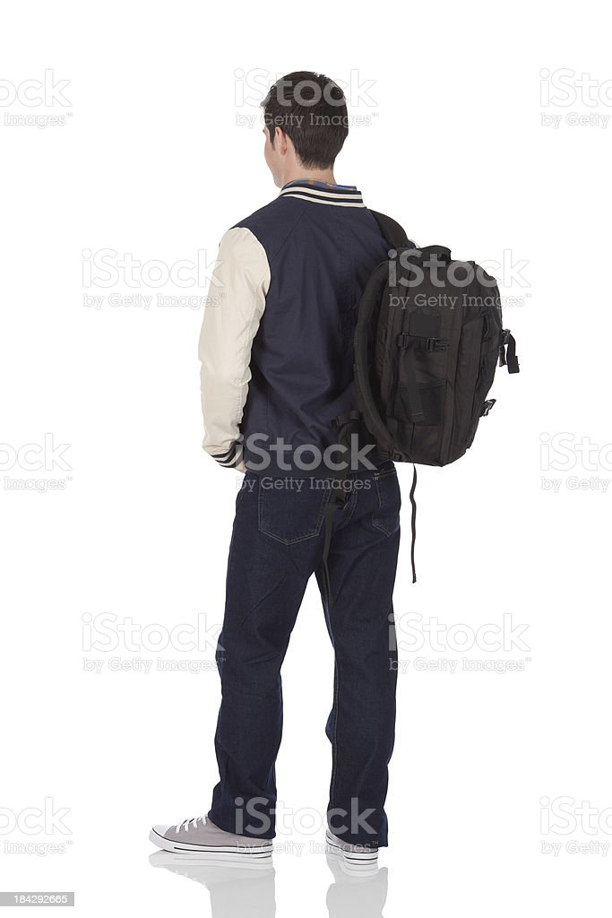 Rear view of a college student royalty-free stock photo