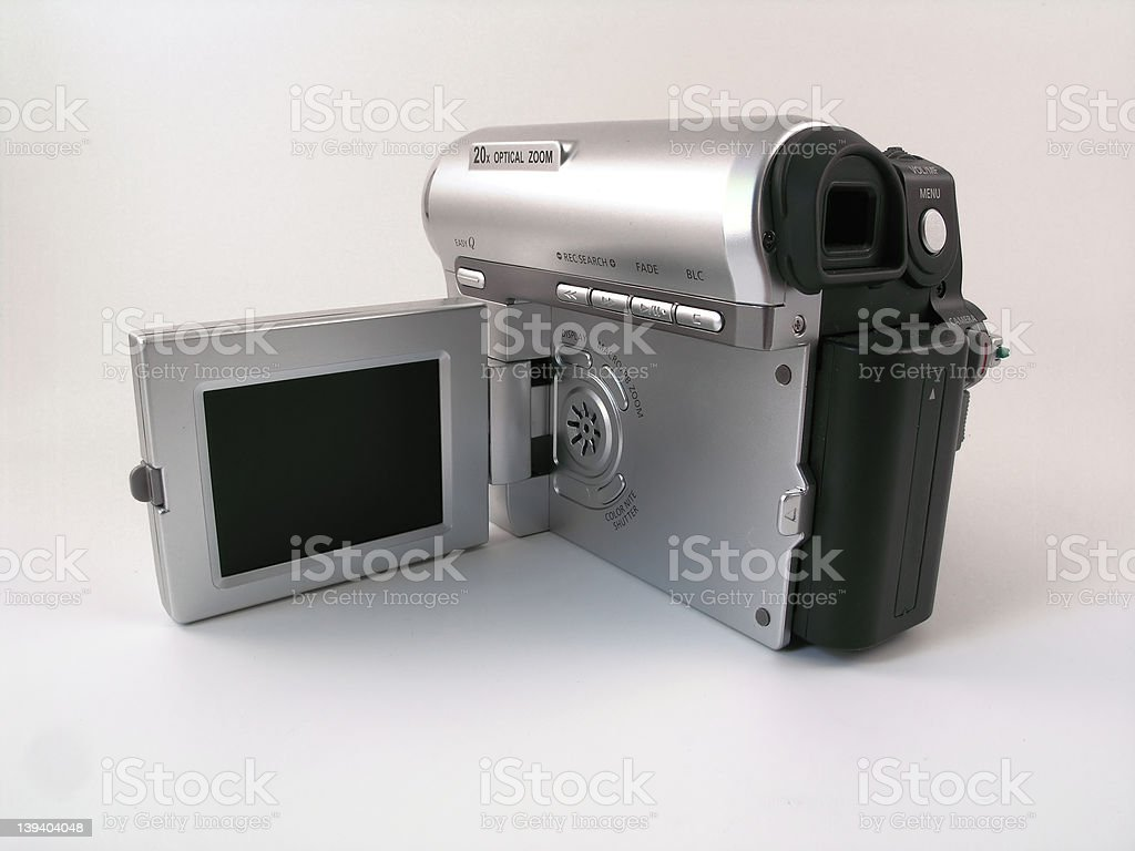 Rear view of a compact consumer camcoder stock photo