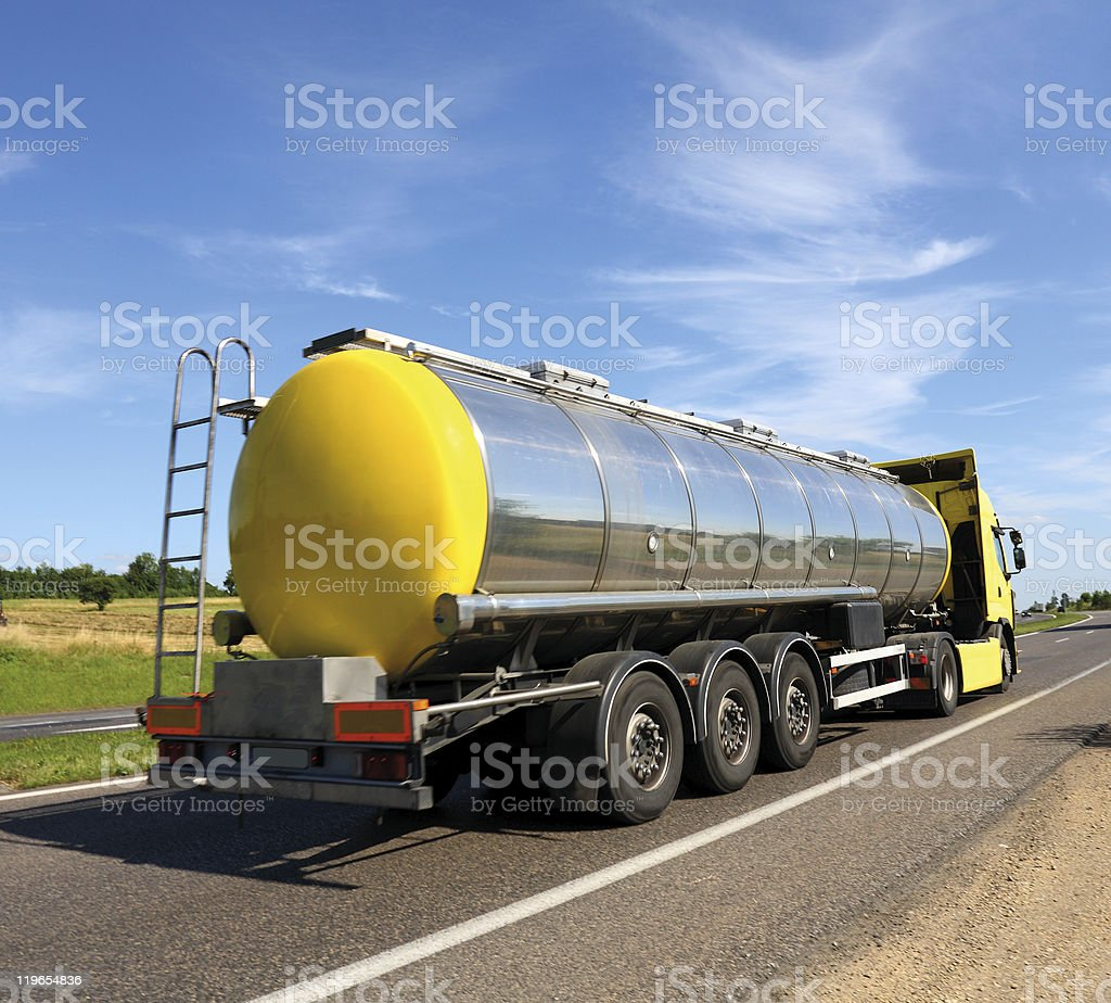Rear view of a fuel tanker truck royalty-free stock photo