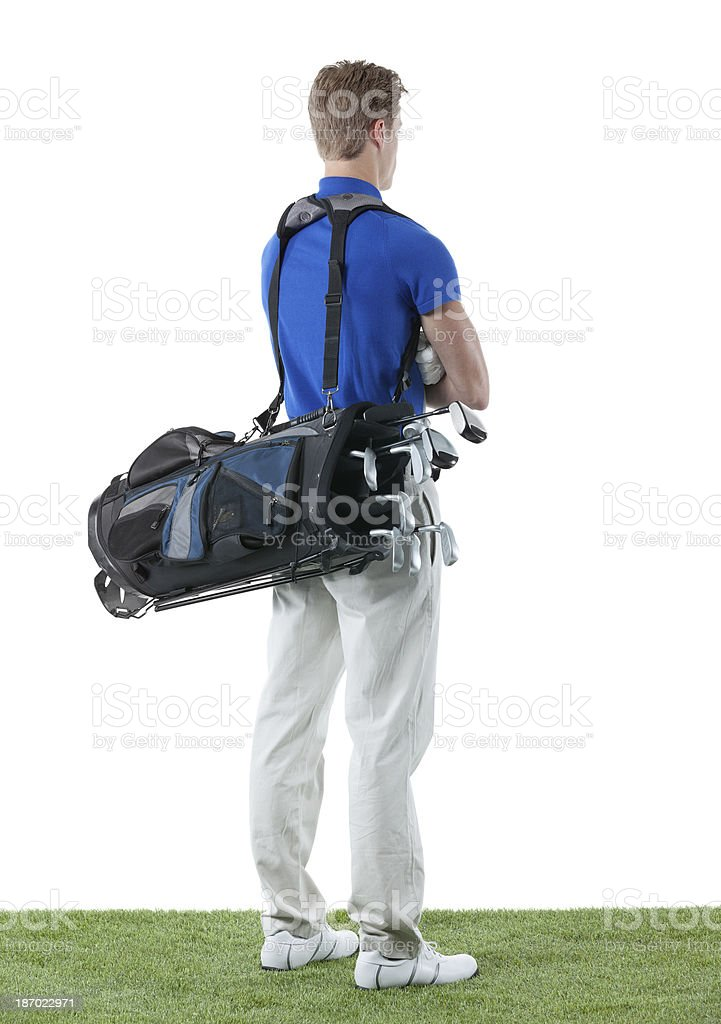 Rear view of a golfer royalty-free stock photo