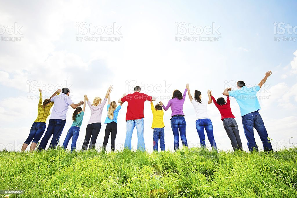 Rear view of a large group in nature. royalty-free stock photo