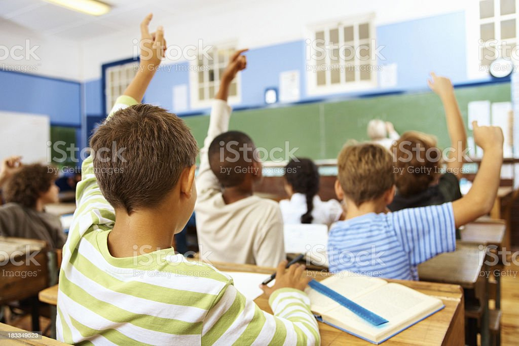 Rear view of a little school boy at his classroom royalty-free stock photo