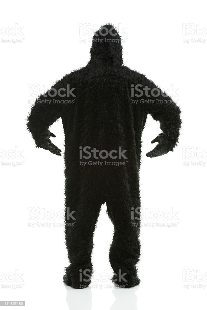 Rear view of a man in gorilla costume royalty-free stock photo