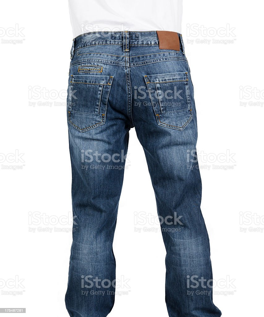 Rear view of a man wearing blue jeans with a blank label stock photo
