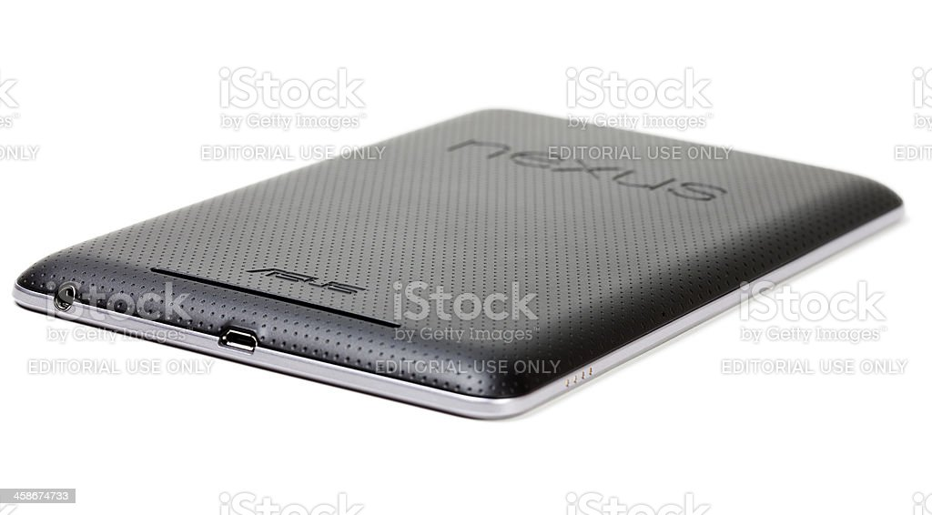 Rear view of a Nexus 7 tablet computer stock photo