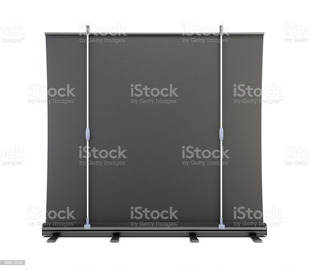 Rear view of a portable screen for presentations. 3d rendering. stock photo