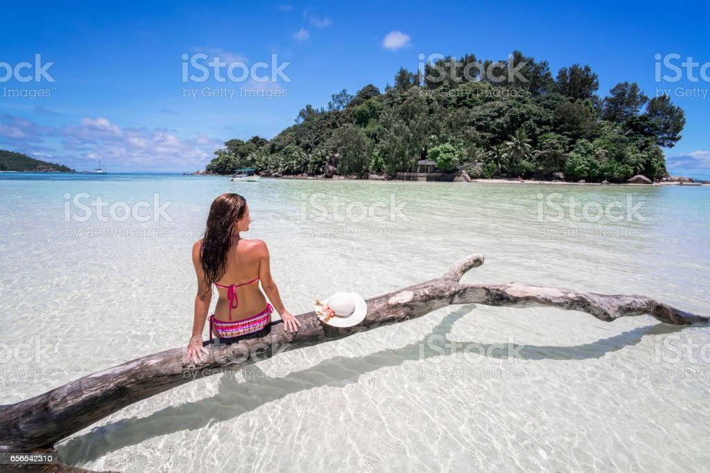 Rear view of a woman during summer day on Seychelles. stock photo