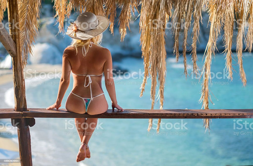 Rear view of a woman on wooden lath in summer. stock photo