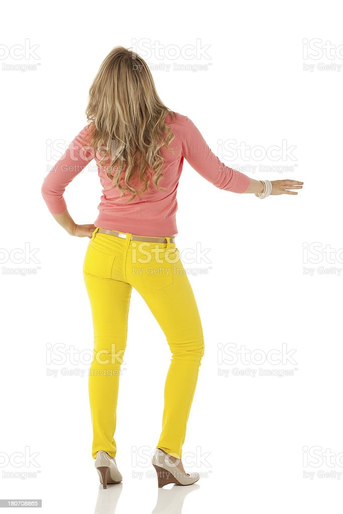 Rear view of a woman posing royalty-free stock photo