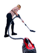 Rear view of a woman with  vacuum cleaner