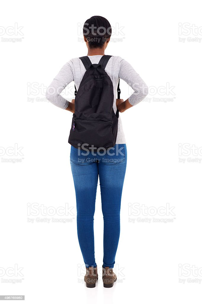 rear view of african female college student stock photo