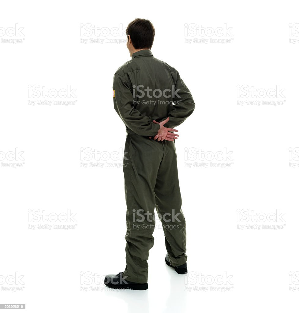 Rear view of air force pilot standing stock photo