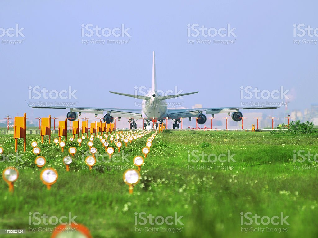 Rear view of airplane stock photo
