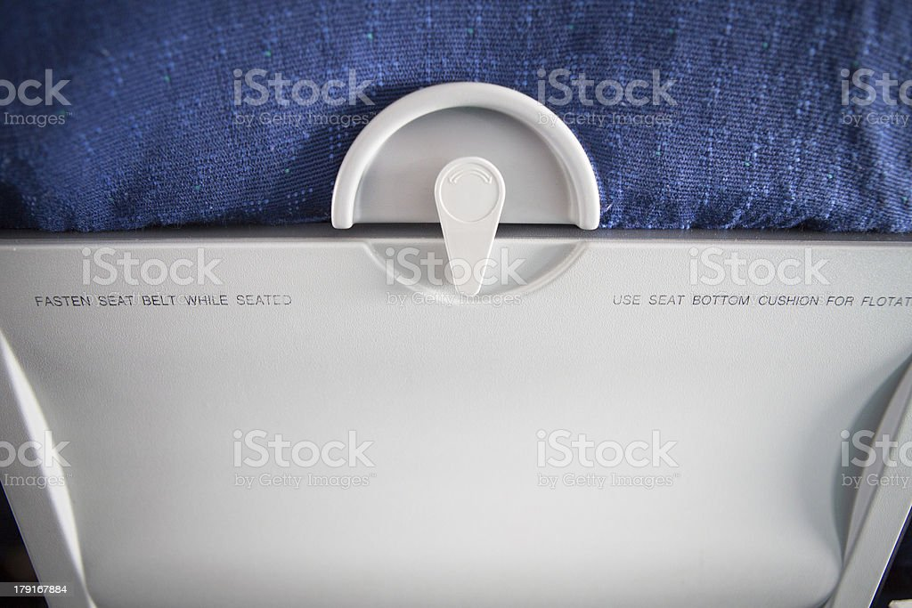 Rear View of an Airplane Seat royalty-free stock photo