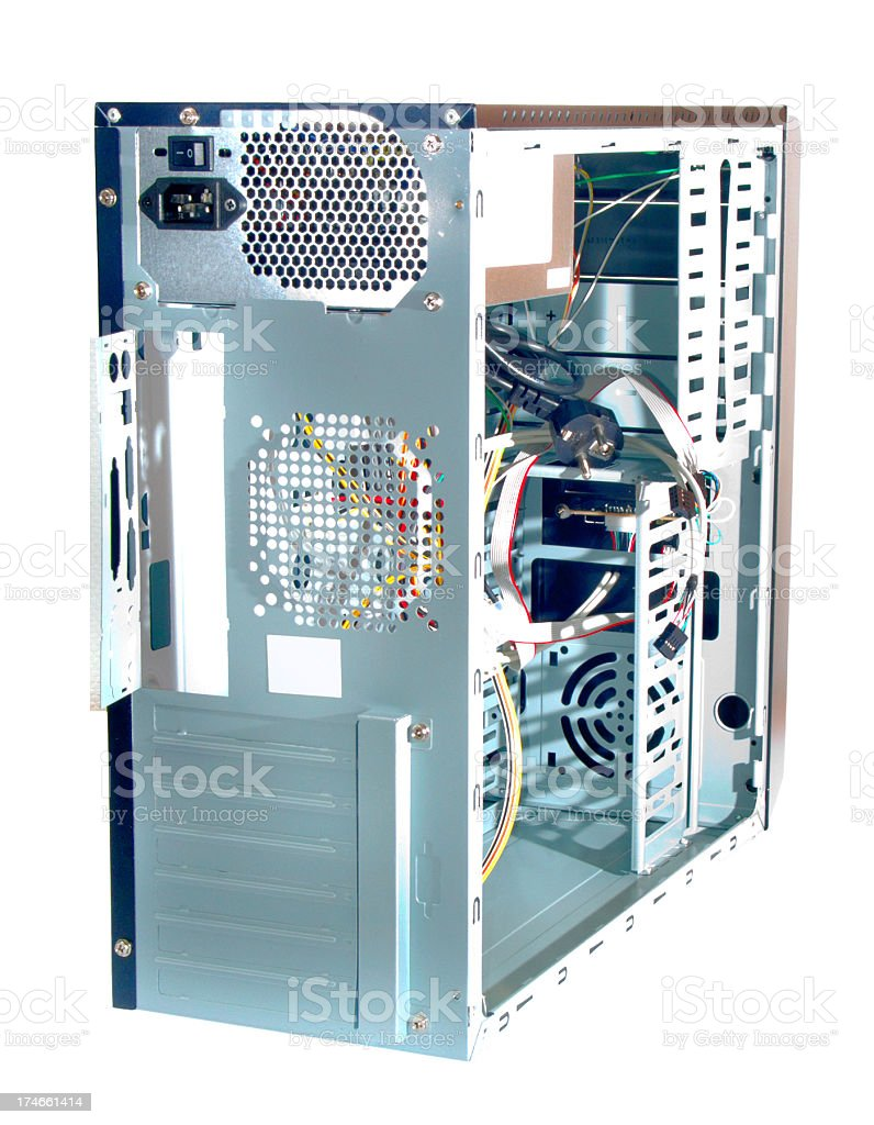 Rear view of an open PC tower case isolated stock photo