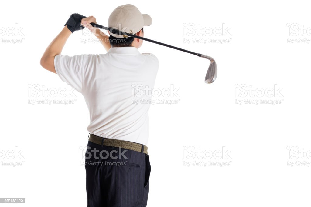 Rear view of Asian Chinese Man Swinging Golf Club stock photo