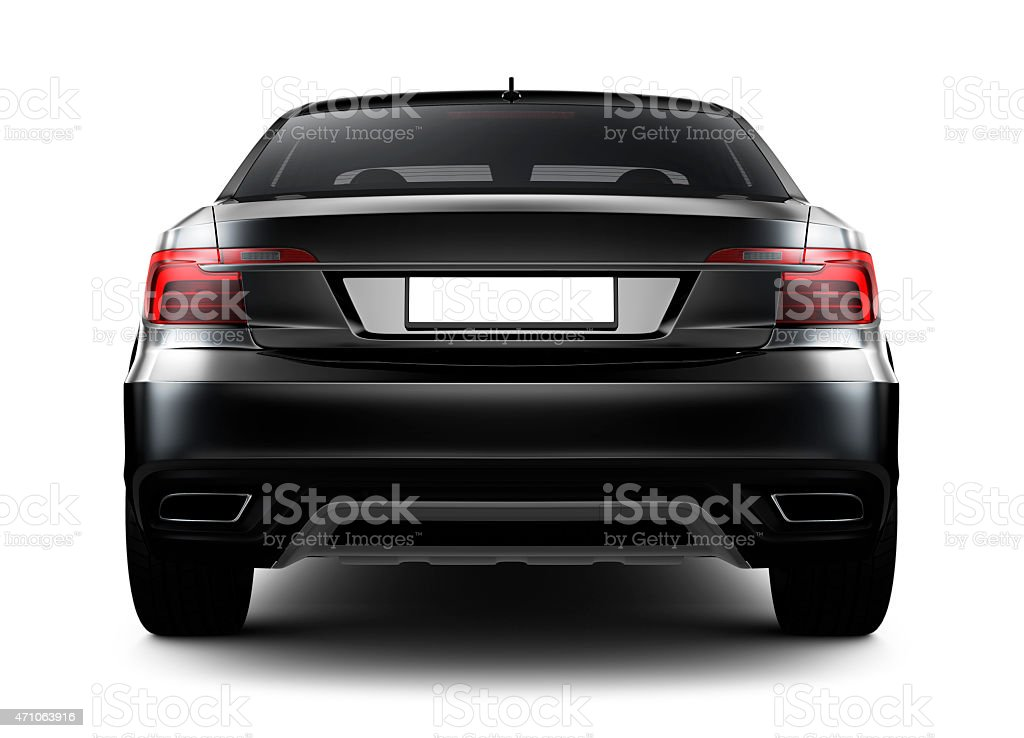 Rear view of black car stock photo